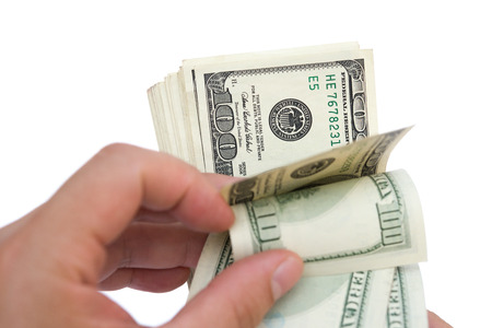 usd: counting stack of usd dollars with clipping path