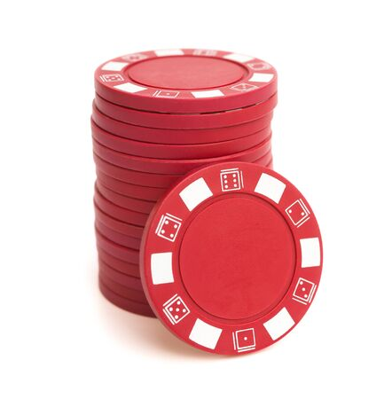gamblers: stack of poker chips on white background