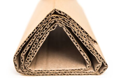 sections of folded corrugated cardboard Stock Photo