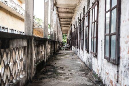 abandoned factory: corridor of an abandoned factory