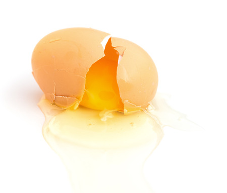 broken egg on a white background