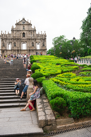 macao: Macao, China - June 25, 2015:Tourists visit the Historic Center of Macao on June 25, 2015 in Macao, China.