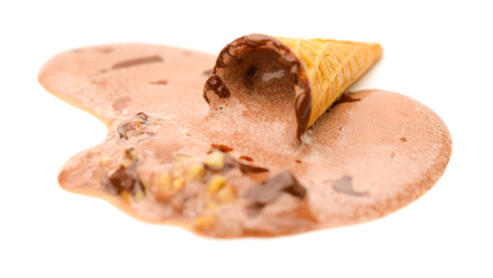 completely: ice cream cone melting completely on a white background