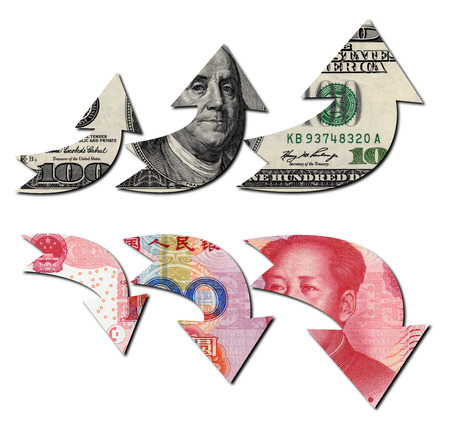 Usd Down Rmb Up, Financial Concept Stock Photo