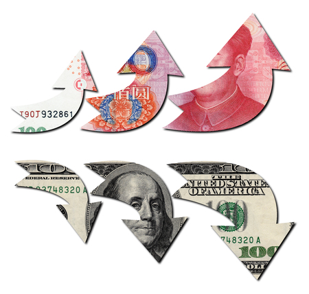 upvaluation: Usd Up Rmb Down, Financial Concept