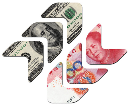 upvaluation: USD UP and RMB DOWN,financial concept