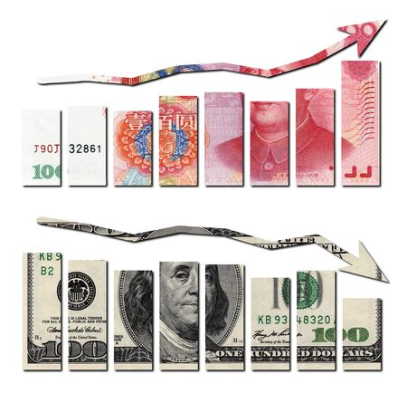 revaluation: rmb up and usd down graphics