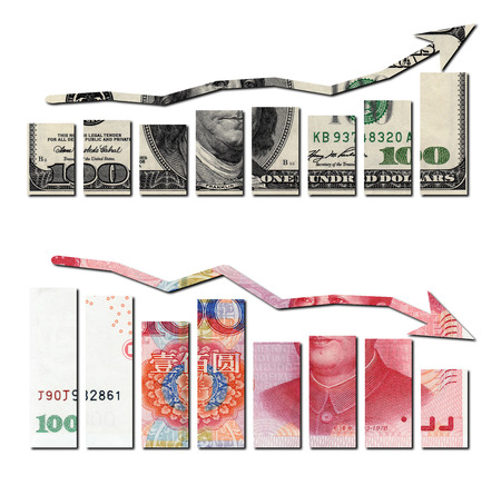 upvaluation: usd up and rmb down graphics Stock Photo