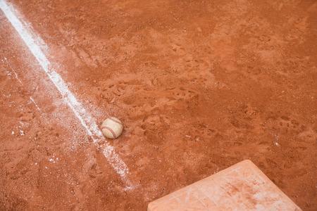 baseball and base on baseball field Stockfoto