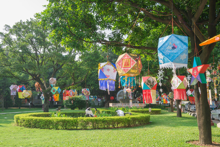 mid morning: ZHONGSHAN GUANGDONG CHINA-SEP 27, 2015: Lanterns hanging in a Park in the morning of the Chinese Mid Autumn Festival on SEP 27, 2015 in Zhongshan, Guangdong, China.