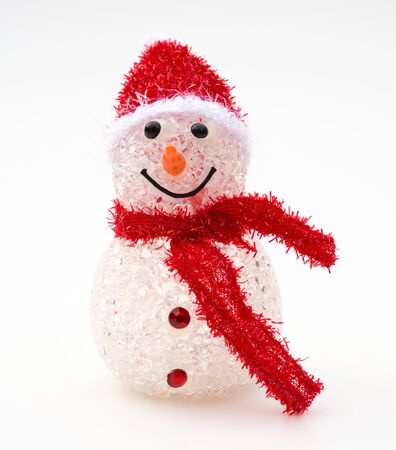 red scarf: smiling toy christmas snowman with red scarf Stock Photo