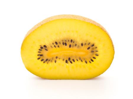golden section: fresh kiwi fruit section on a white background Stock Photo