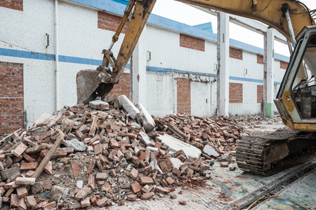 old factory: Demolition of an old factory building Stock Photo