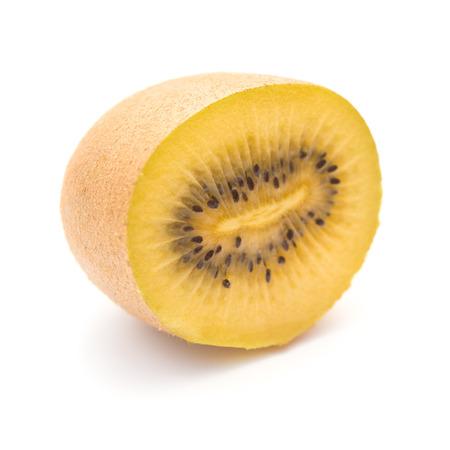 golden section: golden fresh kiwi fruit section on a white background