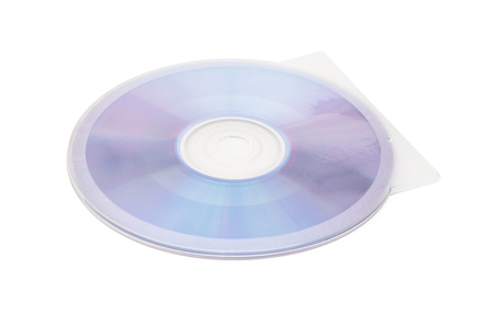 optical disk: compact disc and cover on a white background