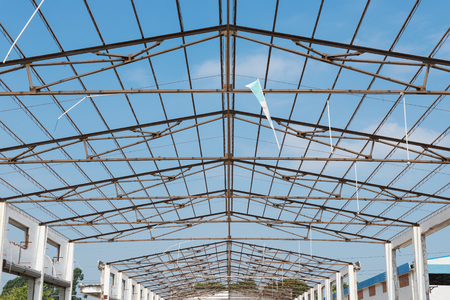 unfinished roof of a factory building