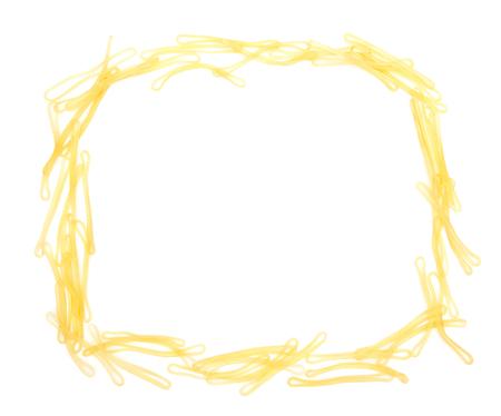 stretchy: Elastic bands shaped as a frame on white Stock Photo
