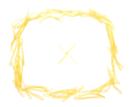 rubberband: Elastic bands shaped as a frame on white with a cross in center Stock Photo