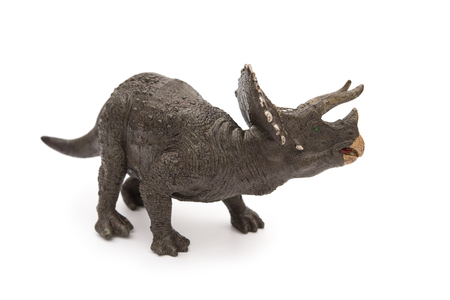 triceratops: grey triceratops toy on a white background