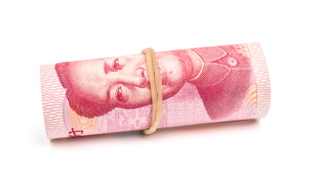 financial cliff: RMB binded with elastic on white background