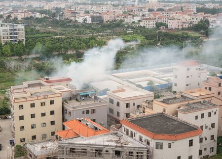 tragedies: a house catches a fire with lots of smoke