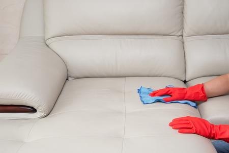 Reinigung Ledersofa zu Hause Standard-Bild