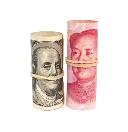 financial cliff: USD & RMB binded with elastic on white background