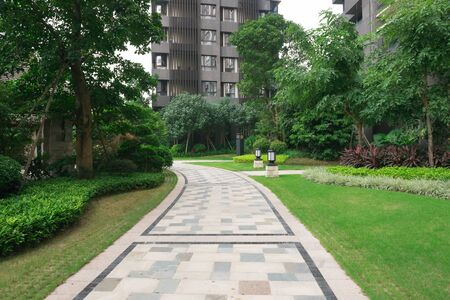 residential building: pathway in outdoor of a residential building