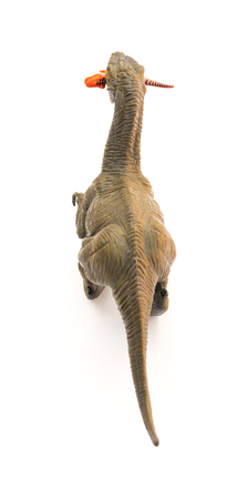 top view Deinonychus biting a smaller dinosaur on a white background