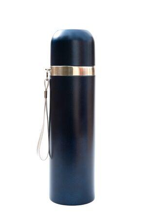 tumbler: blue vacuum tumbler on a white background Stock Photo