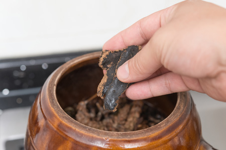 herbolaria: poniendo a base de hierbas a un recipiente de esmalte de decoct medicina herbal