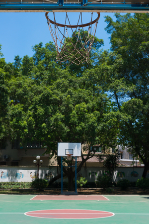 outdoor basketball court: outdoor basketball court in a day time Stock Photo