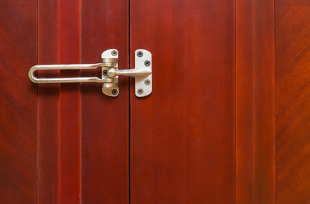 guarded: unlocked stainless steel safety latch at home