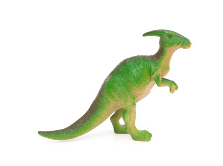 side view green Parasaurolophus toy on a white background Stock Photo