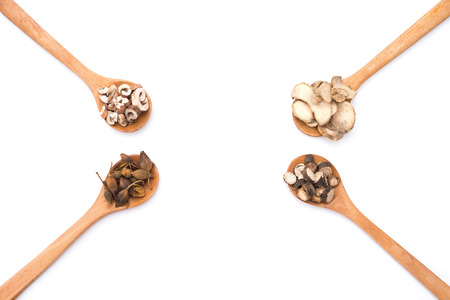 herbolaria: Las hierbas chinas de cucharas de madera en un fondo blanco Foto de archivo