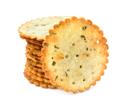 irresistible: crispy crackers stack up on a white background
