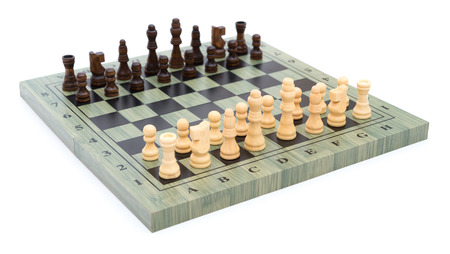 battle plan: side view chess board with chess pieces on white