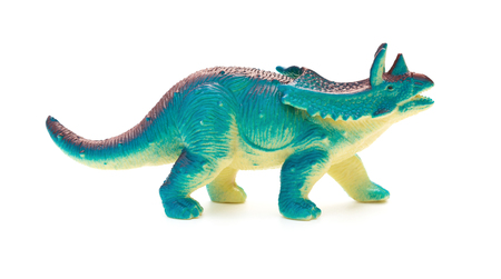 side view blue  Pentaceratops toy on a white background Stock Photo