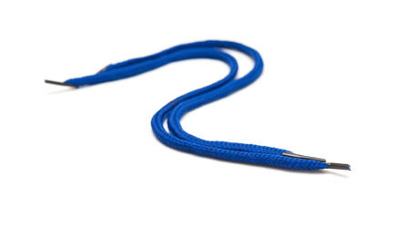 shoe string: curved blue shoelaces on a white background