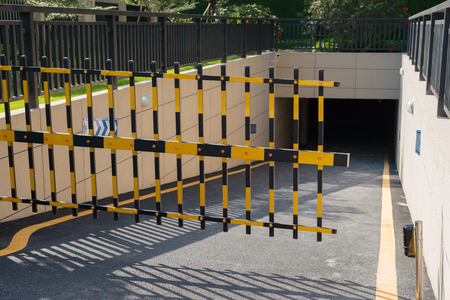 security barrier: Vehicle security barrier closed - entrance to an underground car park
