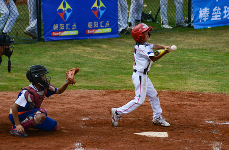 ZHONGSHAN, GUANGDONG - October 27:unknown batter about to hit the ball in a baseball game on October 27, 2016. Editorial