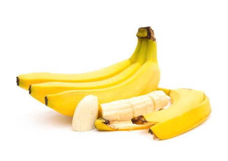 banana skin: banana and banana slices and skin on white background Stock Photo