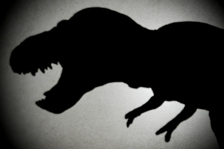 tyrannosaurus shadow with spot light in dark
