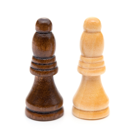 conquering adversity: Chess Bishop on white background