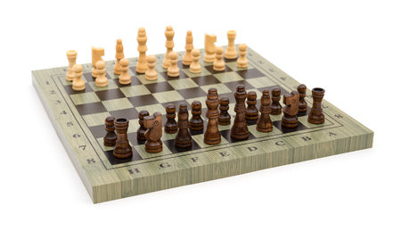 side view chess board with chess pieces on white
