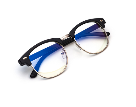 protective glasses with blue filter coating on a white background Stock Photo