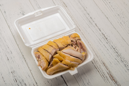 studio shoot of take out fast food of boiled chicken