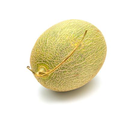 fresh green hami melon on a white background