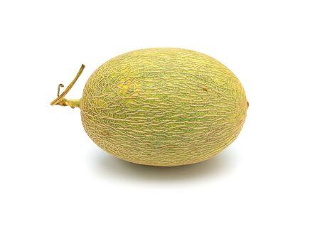 side view fresh green hami melon on a white background 版權商用圖片