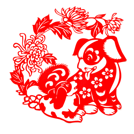 red flat paper-cut on white as a symbol of Chinese New Year of the Dog 2018